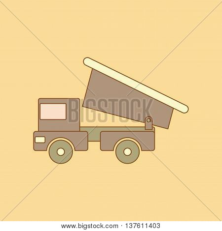 flat icon on stylish background Kids toy truck, vector illustration