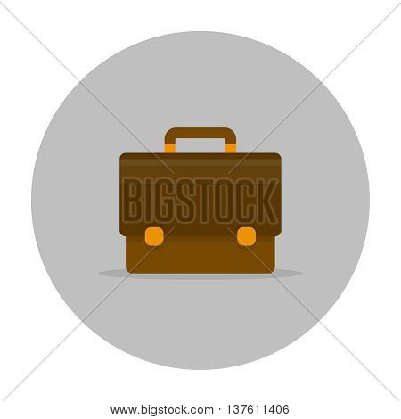Briefcase icon flat. Briefcase male brown with lock