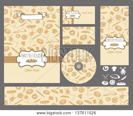 Vector bakery business set template with cute hand drawn bread pastries illustrations. Restaurant or cafe branding elements. Flyer design with bread, ears, mill decor pattern.