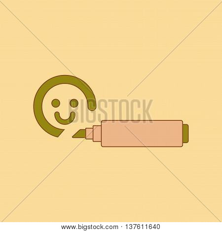 flat icon on stylish background Kids toy felt-tip marker, vector illustration