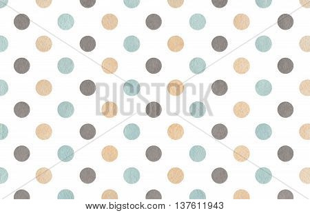 Watercolor Beige, Gray And Blue Polka Dot Background.