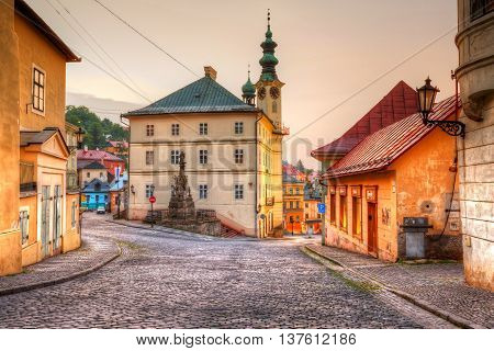 BANSKA STIAVNICA, SLOVAKIA - JUNE 25, 2016: Town hall in the main square of the old town on June 25, 2016.