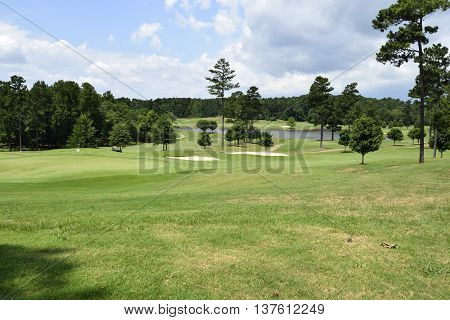 Golf course landscape background at Georgia, USA.