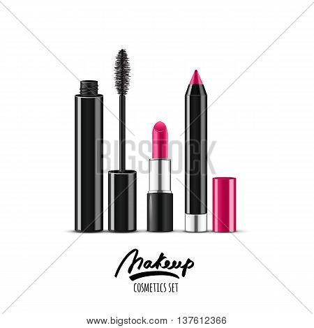Vector Illustration Of Realistic Makeup Cosmetics Set. Pink Lipstick, Mascara And Cosmetic Pencils I