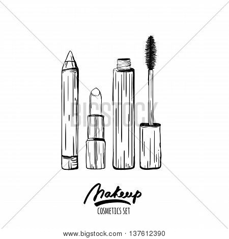 Vector Hand Drawn Monochrome Illustration Of Makeup Cosmetics Set. Sketch Of Lipstick, Mascara, Cosm