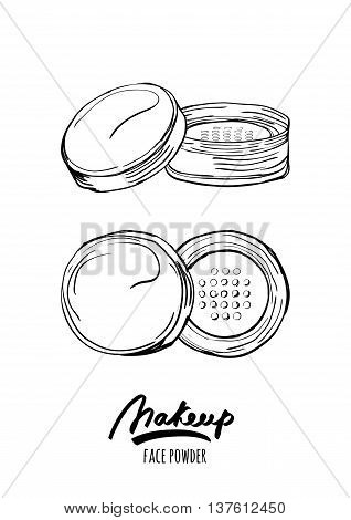 Vector Hand Drawn Monochrome Illustration Of Face Tonal Powder.