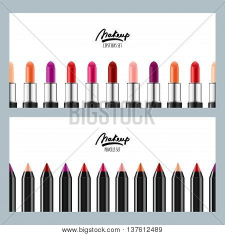 Vector Banners With Multicolor Lipsticks And Cosmetic Pencils. H