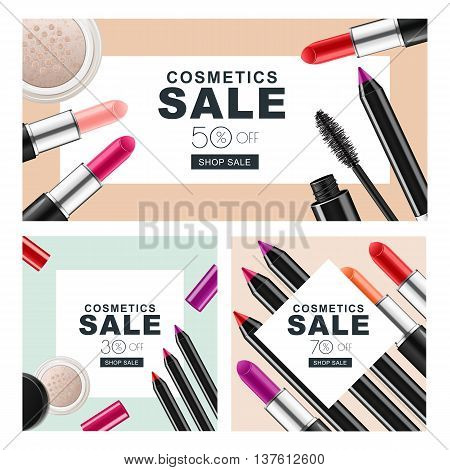Set Of Sale Banners With Makeup Cosmetics. Red Lipstick, Mascara