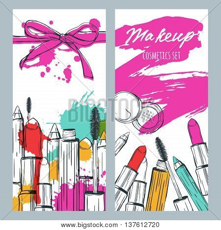 Vector Banners With Doodle Illustration Of Makeup Cosmetics And