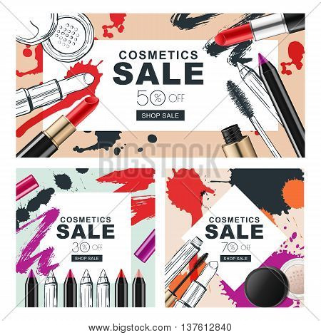 Set Of Sale Banners With Makeup Cosmetics And Watercolor Stains.