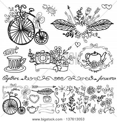 Doodle floral group set.Outline hand sketch vintage decor elements.Flowers, swirls, branches, retro bicycle, photocamera, tableware, bow and lettering .For card, invitation and logo.Cute nature Vector