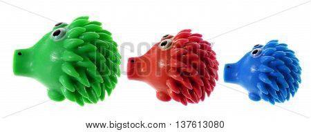 Toy Rubber Porcupines on Isolated White Background