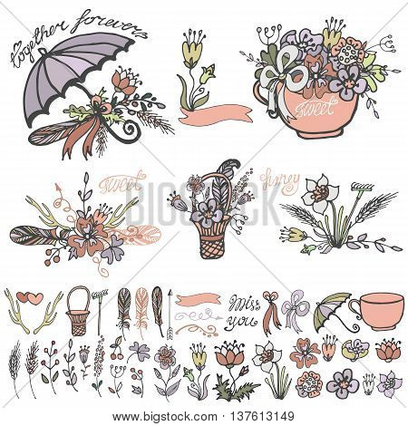 Doodle floral group set.Colored flowers, hand sketch vintage elements.Cute ranches, swirls, umbrella, cap and bow and lettering .For holiday card, invitation and logo.Cute nature Vector