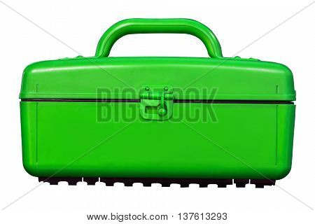 Isolated Vintage Green Cooler Plastic Box On White