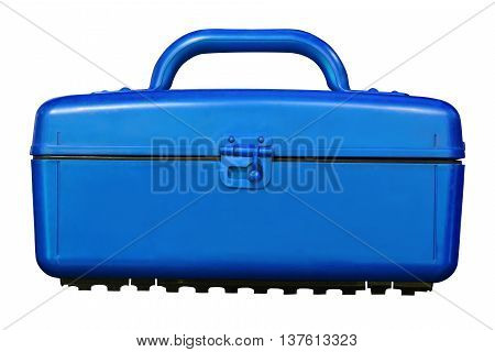 Isolated Vintage Blue Cooler Plastic Box On White