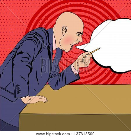 angry bald boss swears on background in the style of pop art view side