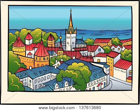 Medieval Old Town, St. Olaf Baptist Church and Tallinn City Wall in sketch style, Tallinn, Estonia