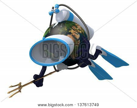 Planet Earth With Diving Goggles And Flippers