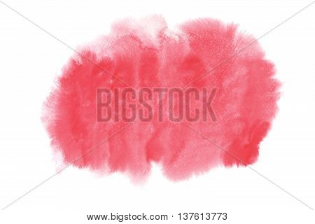 Pink Watercolor Stain Isolated On White Background.