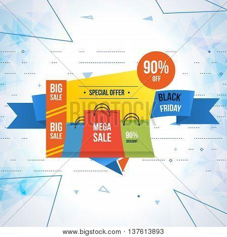 Super Sale banner on colorful background. Mega discount. Special offer. Geometric design. Black friday sale design template. Vector illustration.