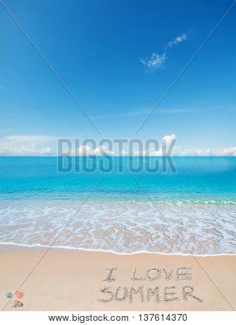 i love summer written on a tropical beach under clouds