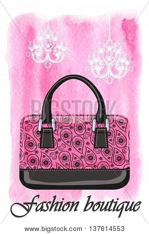 Fashion handbag with Paisley pattern and watercolor textured splash background, chandelier.Artistic  Vector illustration.Gorgeous Composition in pink and black colors.Vertical Poster