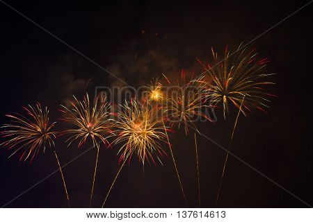 Colorful fireworks over dark sky. Fireworks light up the sky with dazzling display