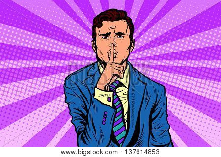 retro man making silence gesture shhh. Pop art vector, realistic hand drawn illustration.