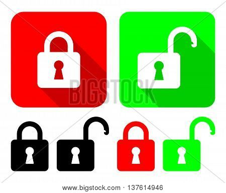 Open And Close Padlocks. Vector Illustration Of Open And Close Padlocks With It's Variations