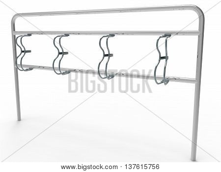 3d illustration of bike stand. icon for game web. white background isolated. chrome