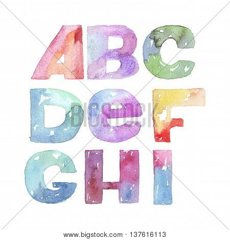 Large raster illustration with watercolor letters sequence from A to I. Alphabet vivid colored grainy with splashes and imperfections isolated on white background. Hand drawn abc letters