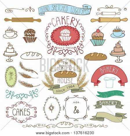 Vintage Retro Bakery Badges, Labels, logos.Colored hand sketched doodles and design elements Bread, loaf, wheat ear, cake icons, border, ribbon. Easy to make logo.Vector