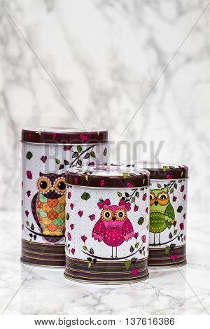 Decorative Tin Boxes With Owl Pattern