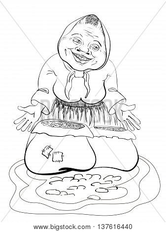 elderly woman in a apron in a jacket coloring book sells sunflower seeds and nuts
