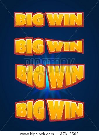Big Win sign with lamp background for online casino, poker, roulette, slot machines, playing cards, mobile game. Set Big Win banner. Vector illustrator.