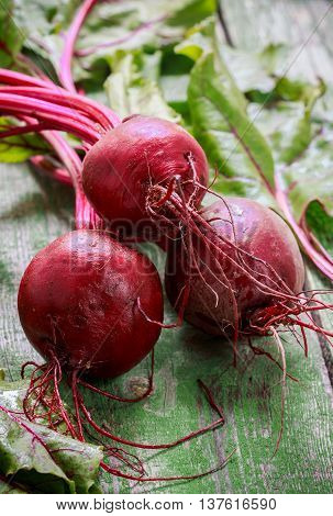 Three young organic beets with leaves on a wooden table. Vegetables from the garden