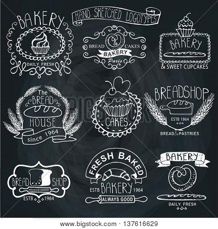 Vintage Retro Bakery Badges, Labels, logos.Outline hand sketched doodles and design elements.Bread, loaf, wheat ear, cake icons. Vector on chalkboard background