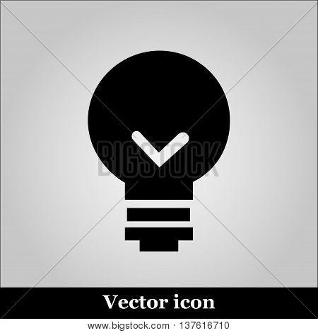 Bulb icon on grey background, vector illustration