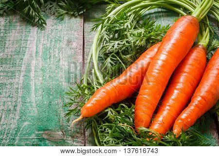 A bunch of young organic carrots with leaves on a wooden table. Vegetables from the garden. Copy space