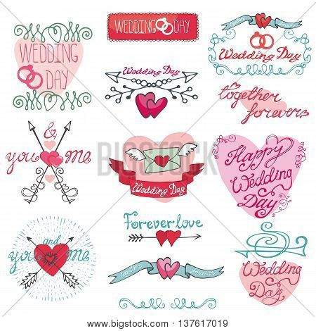 Wedding retro decor elements set in doodle Hand drawn style.Vector decoration, hearts, frame, ,pigeons, arrows, borders and catchwords.Love , romantic sticker, Vintage illustration.For cards, labels and invitations
