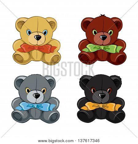 Vector Set of teddy bear toy illustration
