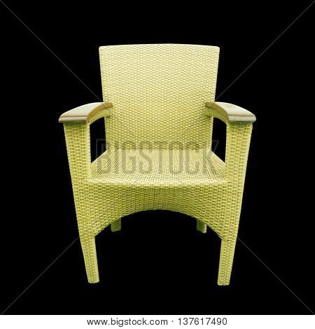 The chairs made of woven plastic design