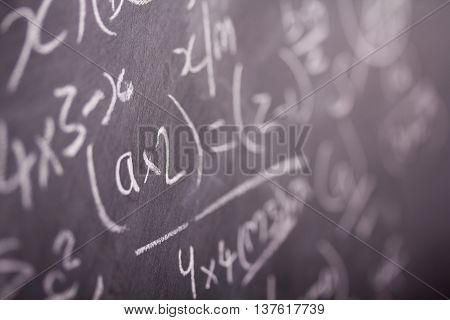 Close Up Of Blackboard With Maths Equations