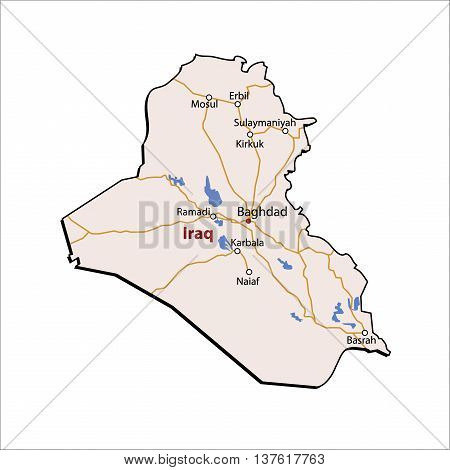 Vector Iraq Colour Detailed Map Major Roads and Places