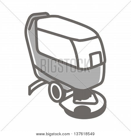 Vector colorful illustration of compact automatic floor scrubber machine isolated on white background.