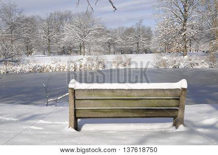 Snowy day in FDR Park Philadelphia, PA
