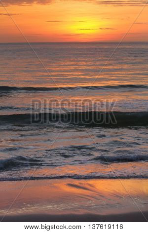 Sunset on the beach with beautiful sky