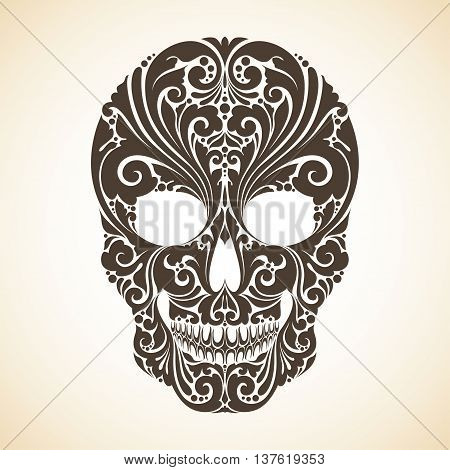 Decorative skull with ornamental and floral elements. Tattoo