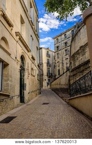 Empty Narrow Streets of Montpellier in a summer day