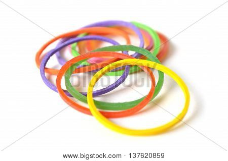 Colorful rubber band on a white background